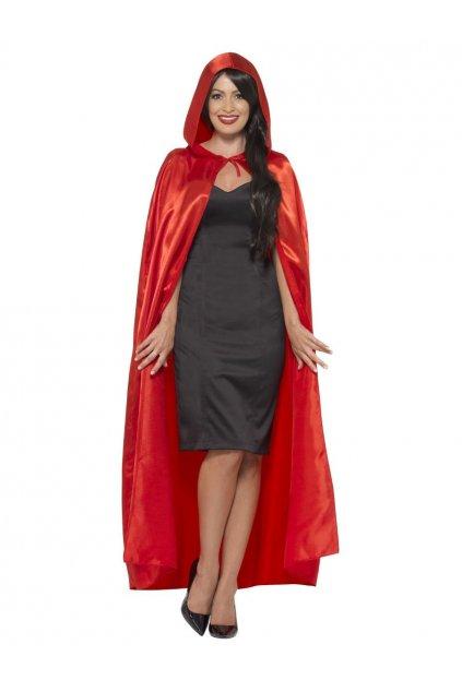 Červený plášt s kapucí saténový