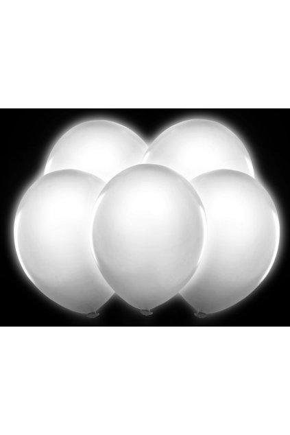 Svítící nafukovací balónky - 5ks - bílé