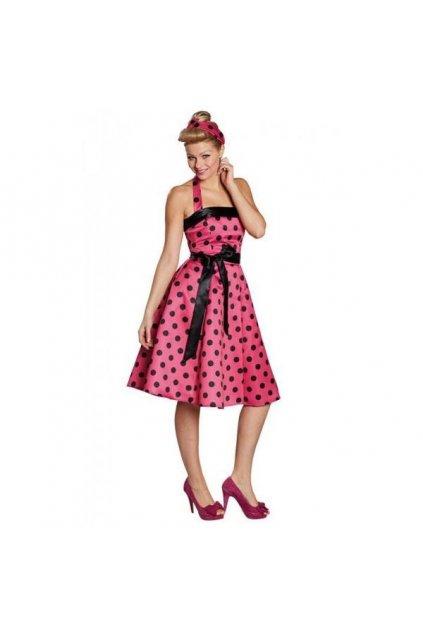 Dámský retro kostým - Polka DOT - růžová