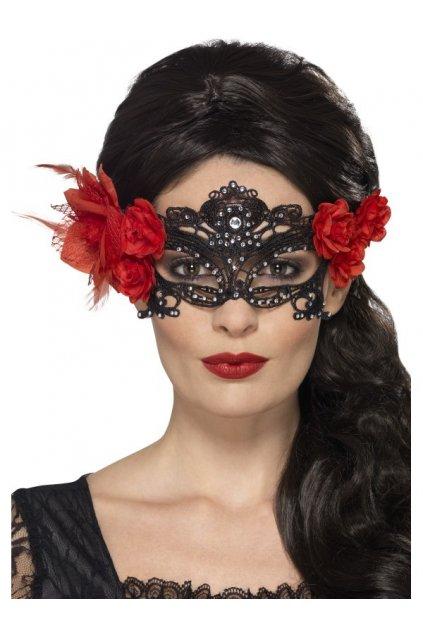 Černá krajková škraboška s růžemi
