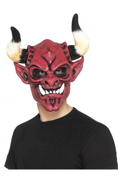 Maska čerta s velkými rohy