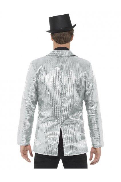 Flitrované pánské sako - stříbrné