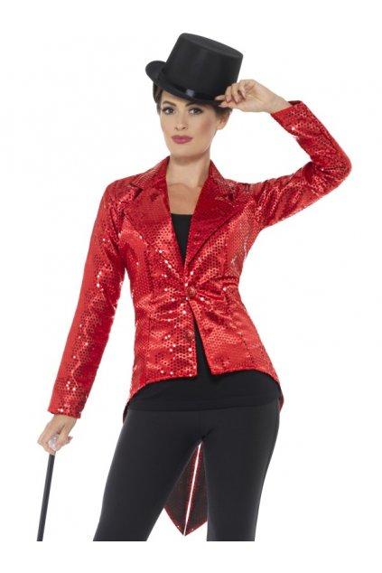 Flitrované dámské sako - červené