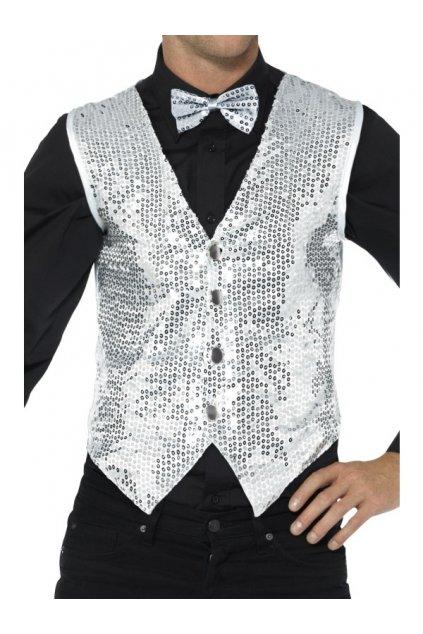 Flitrovaná pánská vesta - stříbrná