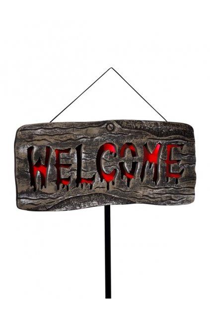 Welcome - cedule svítící napis - dekorace Halloween