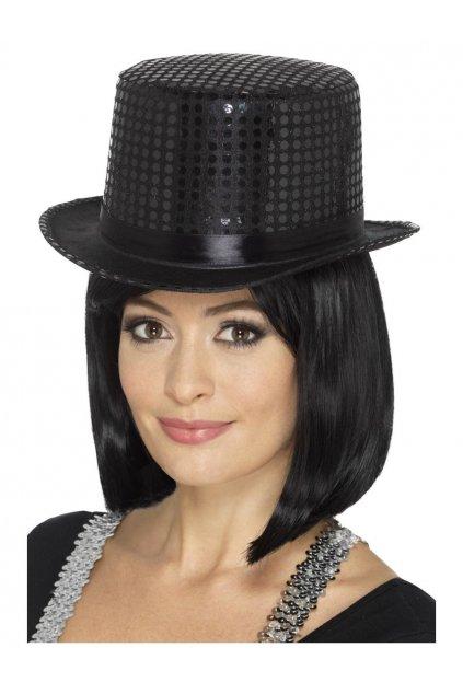 Černý flitrovaný klobouk