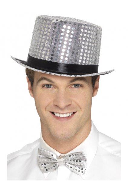 Stříbrný flitrovaný klobouk - výprodej