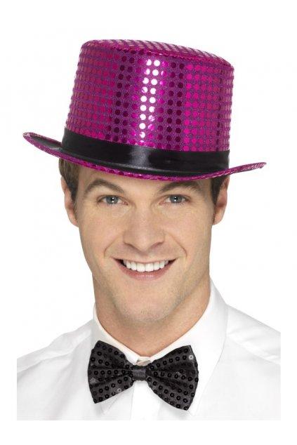 Růžový flitrovaný klobouk