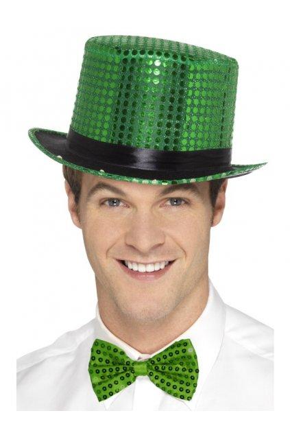 Zelený flitrovaný klobouk