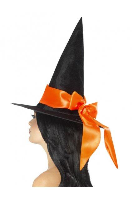 Čarodějnický klobouk s oranžovou mašlí