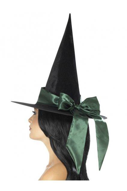 Čarodějnický klobouk se zelenou mašlí