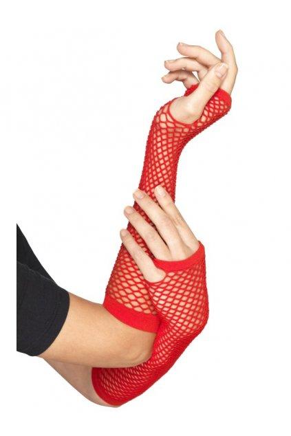 Červené síťované rukavice bez prstů