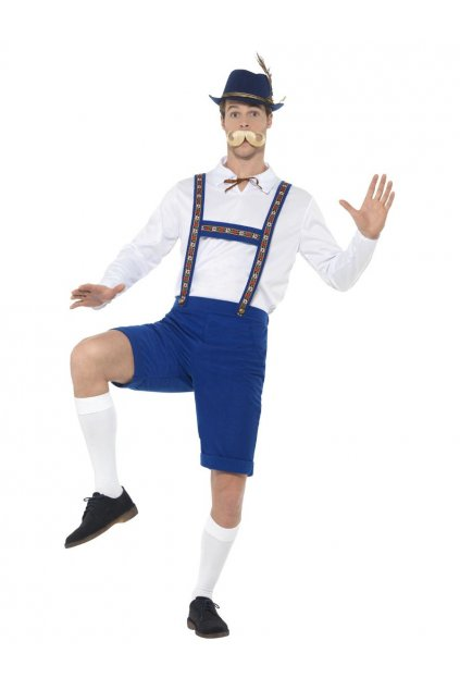Kostým bavorského muže - bílomodrý