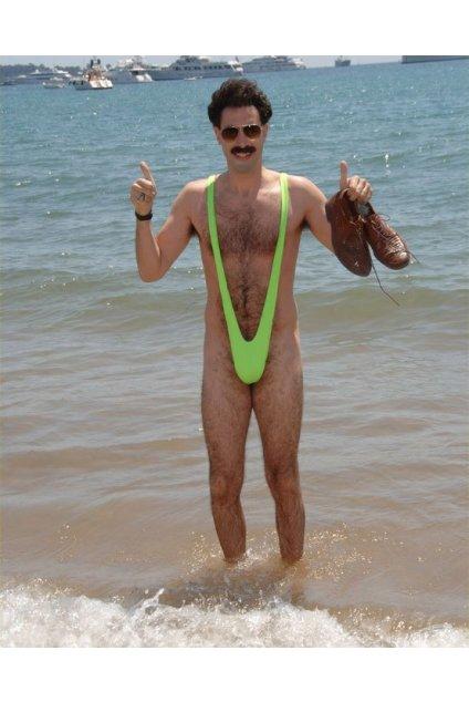 Plavky boratky - Mankini - zelené