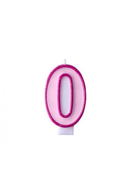 Dortová svíčka růžová - číslo 0