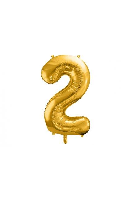 Fóliový balónek číslo 2 - zlatý 86cm