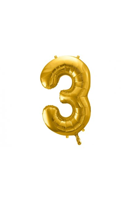 Fóliový balónek číslo 3 - zlatý 86cm