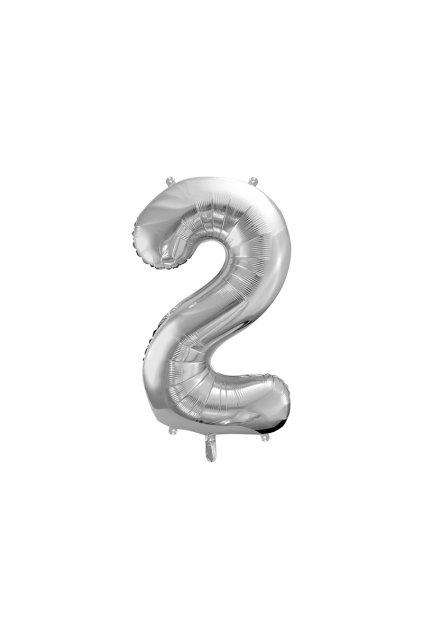 Fóliový balónek číslo 2 - stříbrný 86cm