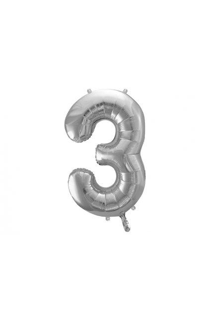 Fóliový balónek číslo 3 - stříbrný 86cm