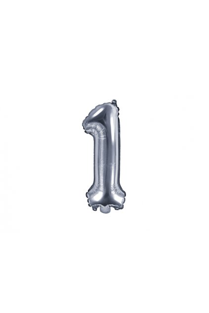 Fóliový balónek číslo 1 - stříbrný 35cm