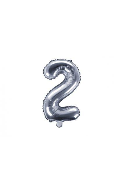 Fóliový balónek číslo 2 - stříbrný 35cm