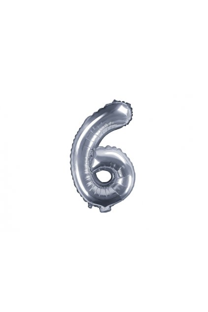 Fóliový balónek číslo 6 - stříbrný 35cm