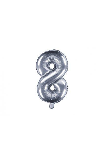 Fóliový balónek číslo 8 - stříbrný 35cm