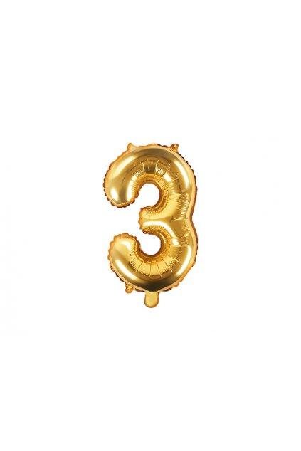 Fóliový balónek číslo 3 - zlatý 35cm