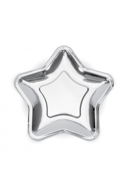 Párty talířky hvězdy - stříbrná