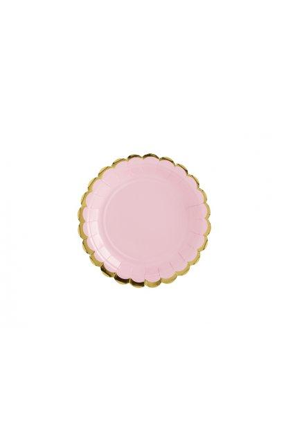 Papírové talířky - pastelově růžové se zlatým okrajem