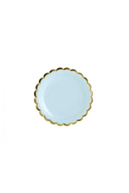 Papírové talířky - pastelově modré se zlatým okrajem