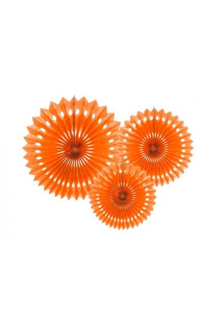Rozety závěsná dekorace 3ks - oranžová