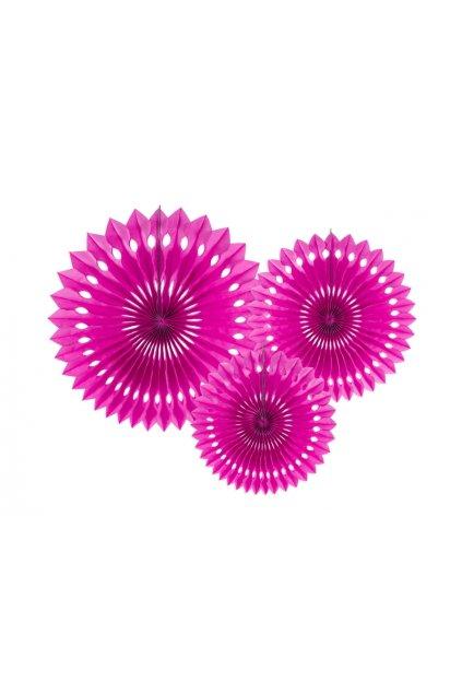 Rozety závěsná dekorace 3ks - růžová