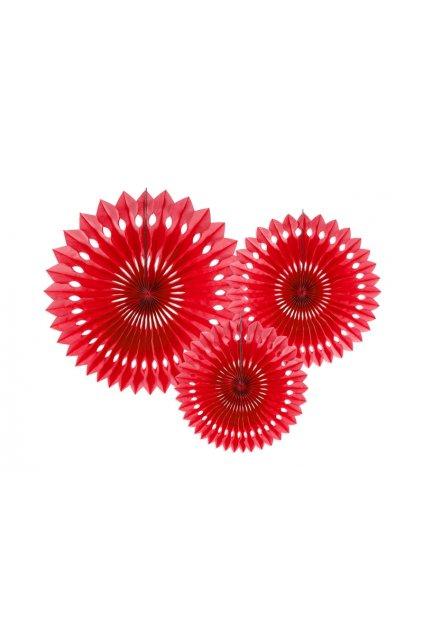 Rozety závěsná dekorace 3ks - červená