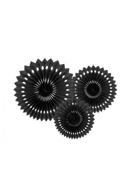 Rozety závěsná dekorace 3ks - černá