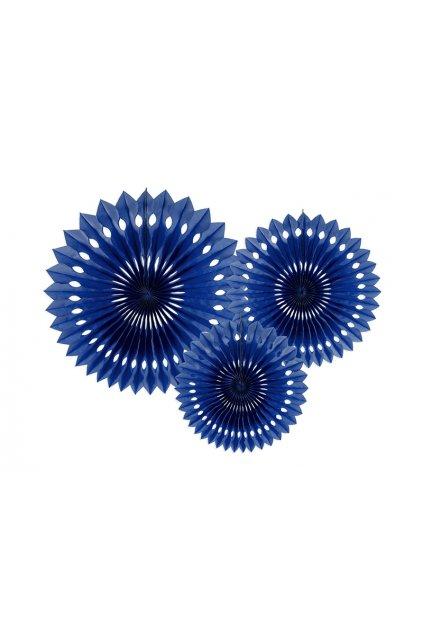 Rozety závěsná dekorace 3ks - modrá