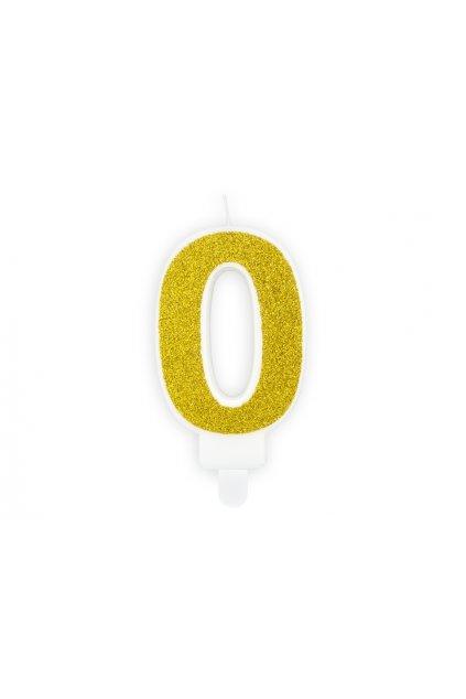 Svíčka na dort zlatá - číslo 0