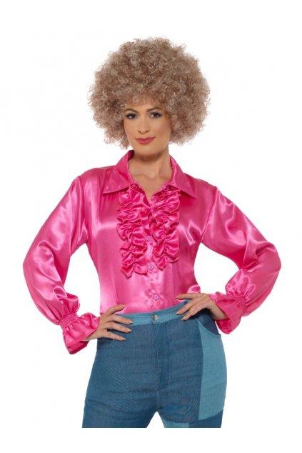 Saténová retro košile růžová