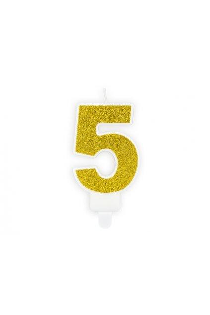 Svíčka na dort zlatá - číslo 5