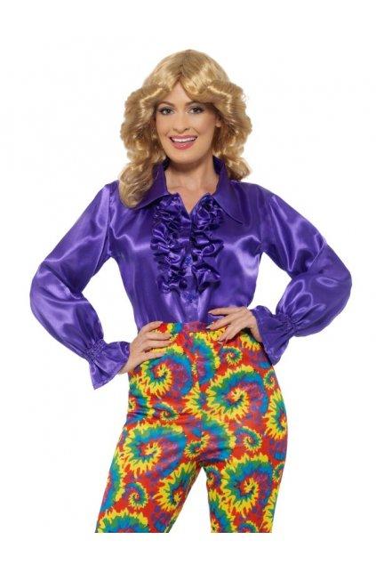 Saténová retro košile s volány fialová