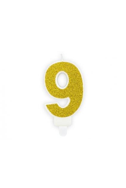 Svíčka na dort zlatá - číslo 9