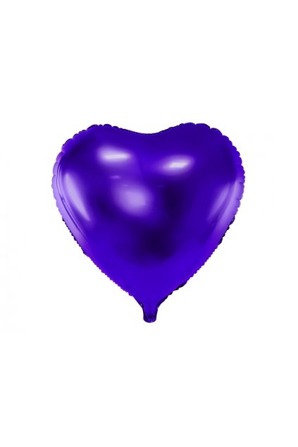 Fóliový balónek 45cm - Srdce fialové