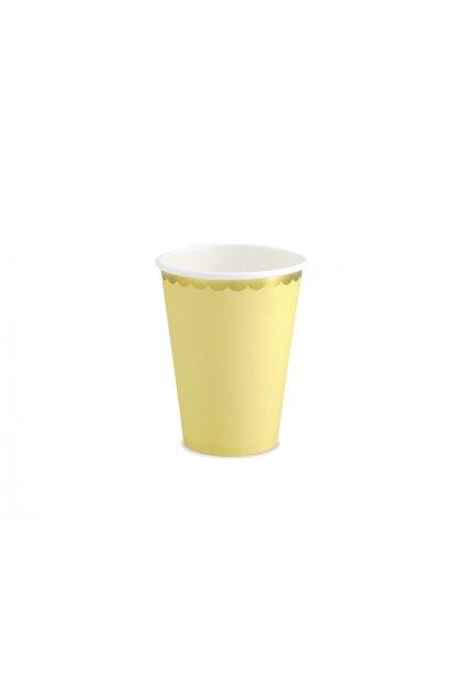Papírové kelímky - pastelově žlutá se zlatým okrajem