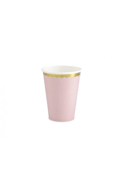 Papírové kelímky - pastelově růžová se zlatým okrajem