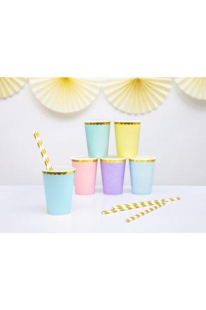 Papírové kelímky - pastelově modrá se zlatým okrajem