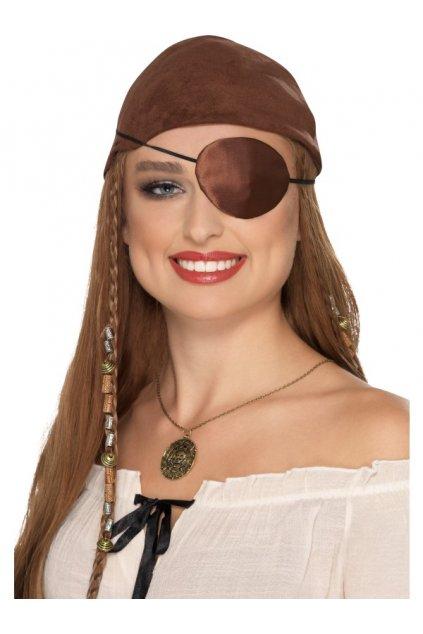 Pirátská saténová záslepka hnědá