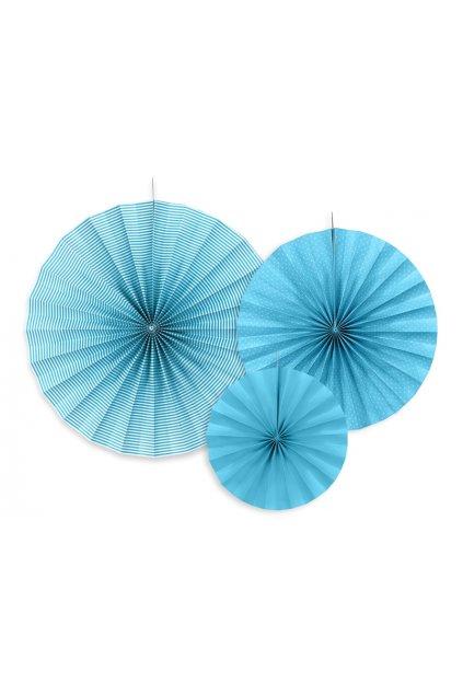 Rozety - závěsná dekorace 3 ks - tyrkysové