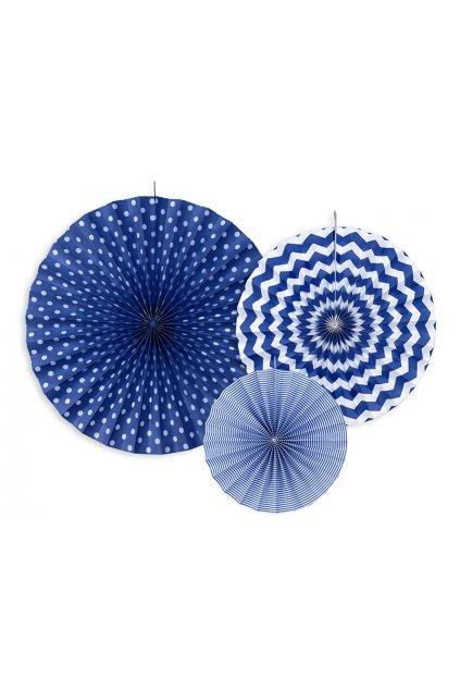 Rozety - závěsná dekorace 3 ks - tm. modré