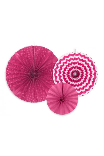 Rozety - závěsná dekorace 3 ks - růžové