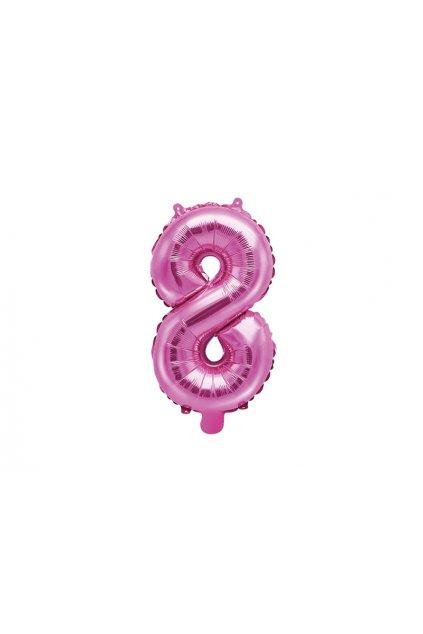 Balónek fóliový narozeniny číslo 8 - růžový
